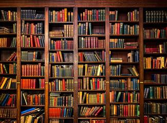 Fototapeta Books on Shelves in Library or Study with Classic Dark Wood obraz