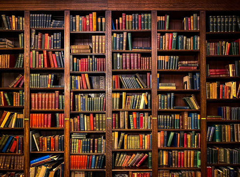 Books on Shelves in Library or Study with Classic Dark Wood