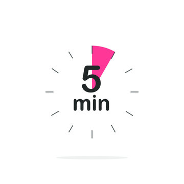 5 minutes timer. Stopwatch symbol in flat style. Editable isolated vector illustration.