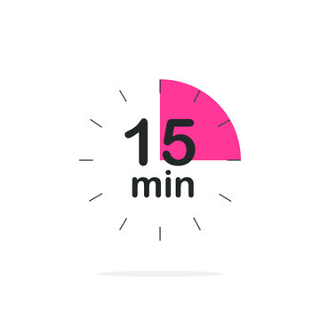 15 minutes timer. Stopwatch symbol in flat style. Isolated vector illustration.