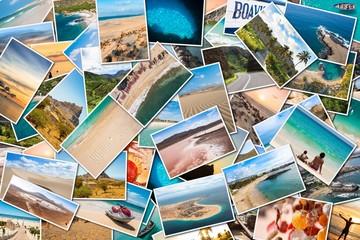 Stack pile of Cape Verde landscape photo collage montage , Santiago, Sal, Boavista, Sao vicente Fototapete