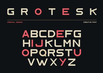 Latin alphabet, sans serif font in grotesk style Wall mural