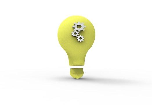 Light bulb with cogwheels symbols