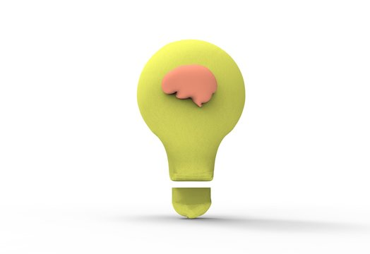 Light bulb with a brain symbols