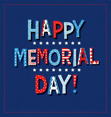 Happy Memorial Day 2020 in Red white and blue doodle letters. For greeting cards web banners and posters.