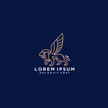 heraldic, luxury, lion logo. modern icon, template design illustration