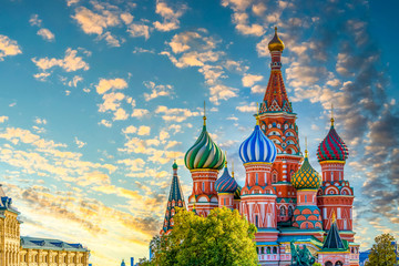 Poster de jardin Moscou St. Basil's Cathedral ancient architecture on Red Square in Moscow City, Beautiful ancient architecture building in Moscow City, St. Basil's the blessed, Russia, Bucket list dream destination.