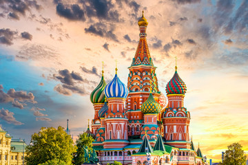 St. Basil's Cathedral ancient architecture on Red Square in Moscow City, Beautiful ancient architecture building in Moscow City, St. Basil's the blessed, Russia, Bucket list dream destination. Wall mural