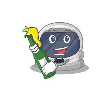 Mascot character design of astronaut helmet say cheers with bottle of beer