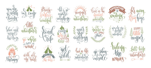 Zelfklevend Fotobehang Positive Typography set of 25 hand lettering inscription posters about travel adventure, positive quotes