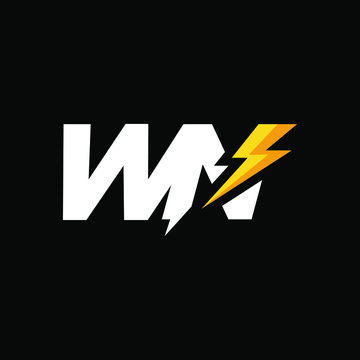 Initial Letter WN with Lightning