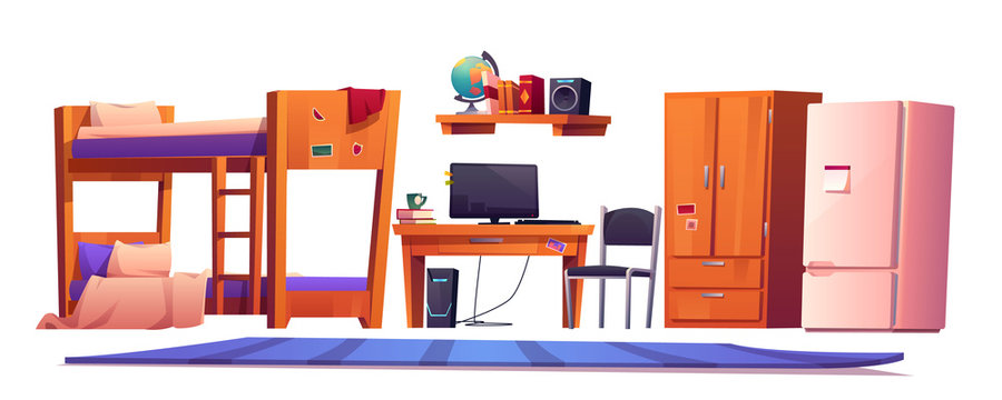 Hostel or student dormitory room interior stuff set isolated on white background. University living apartment with bunk bed, wardrobe workplace desk with pc chair, fridge, bookshelf cartoon vector