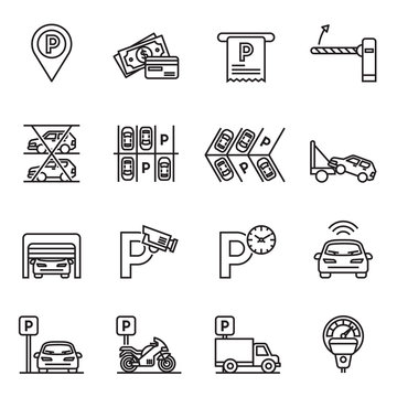 Parking icons. Car garage, Valet servant and Paid transport parking icon set with white background. Thin line style stock vector.