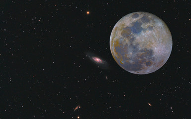 Super Mineral Moon and Messier 106 galaxy with black space background and stars.