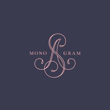 Calligraphic monogram SA