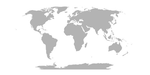 Wall Mural - World Map in Robinson Projection. Solid gray land silhouette. Vector illustration
