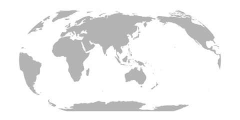 Wall Mural - World Map in Robinson Projection. Asia and Australia centered. Solid gray land silhouette. Vector illustration