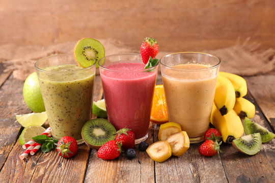 assorted of fruit juice- healthy smoothie