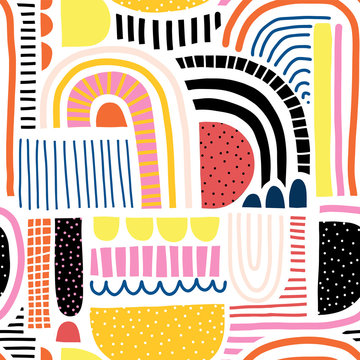 Abstract doodle shapes collage seamless vector kids pattern. Cute geometric shapes and doodles background blue red yellow black white orange pink. Modern backdrop for kids, fabric, home decor