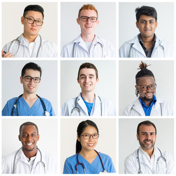 Set of pictures of smiling internship trainees with superior MD. Internal medicine students completing their training program at clinic. Stethoscopes hanging around necks. Medicine concept