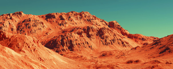 Photo sur Aluminium Brique Mars landscape, 3d render of imaginary mars planet terrain, science fiction illustration.