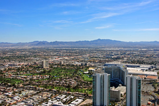 Skyline cityscape of the suburbs of Las Vegas Nevada USA