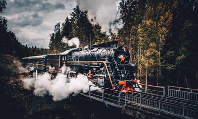 Old soviet steam locomotive passing though Karelian forrest
