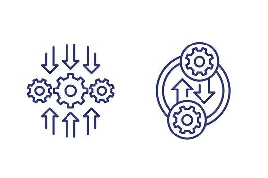 Integration or optimization software line icons