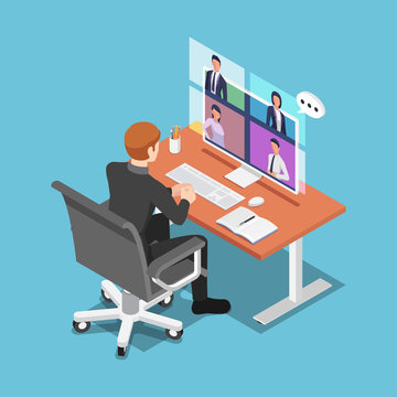 Isometric businessman talking to his colleagues in video conference