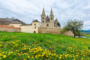 spisska kapitula, slovakia - APR 29, 2019: st. martin's cathedral in spring. One of the largest Romanesque and Gothic styles architecture monuments build between 13 and 15 century in eastern slovakia