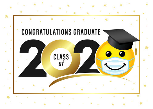 Graduating class of 2020 with smile in academic cap & medical mask. Yellow smiling emoji wearing a white surgical mask. Vector joy emoticon icon