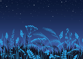 Papiers peints Bleu nuit Seamless Border with Wild Plants in Moonlight