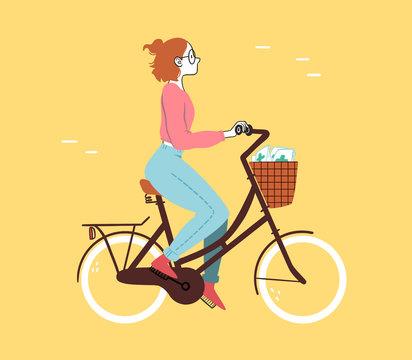 Girl On Bike Delivering Prescriptions For NHS