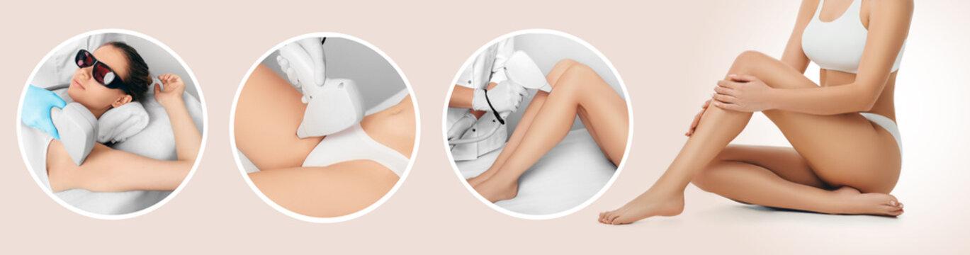 Hair remove using medical laser, procedure body epilation. Technology laser epilation, say goodbye hair on legs, armpit, bikini zone.