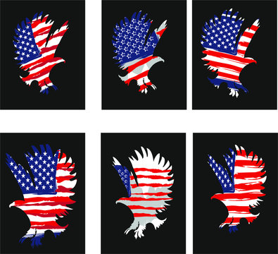 American flag eagle tshirt print and embroidery graphic design vector art