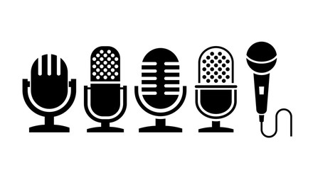 Microphone vector icon collection