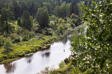 Spoed Fotobehang Bos rivier Beautiful landscape of Russian nature, view from the mountain to the forest and river on a sunny summer day