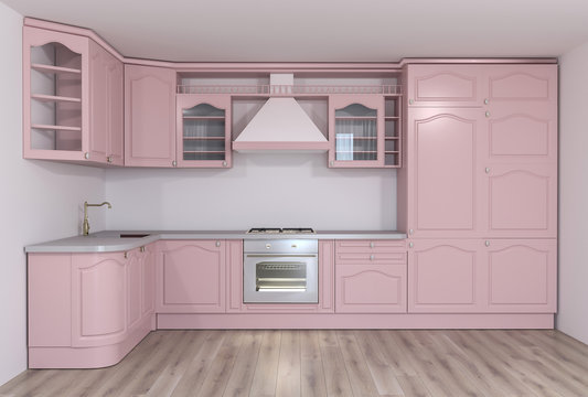 3d rendering of classic pink kitchen interior idea