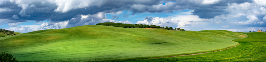 Tuscany spring, rolling hills on spring . Rural landscape. Green fields and farmlands. Italy, Europe Wall mural