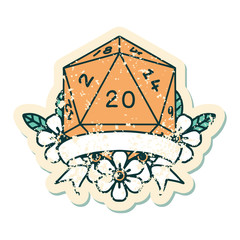 natural 20 critical hit D20 dice roll illustration
