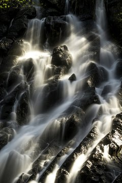 Vertical shot of the water coming down through the rocks