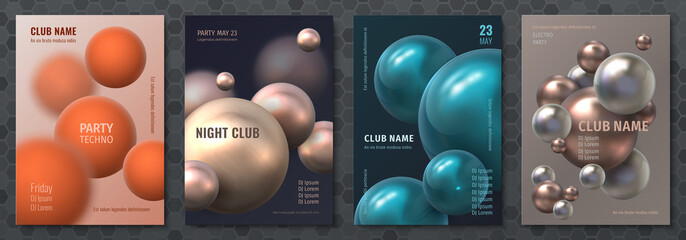Abstract sphere poster. Modern brochure with realistic 3D plastic balls, music party flyer template. Vector illustration background with colorful geometric orbs for club festival