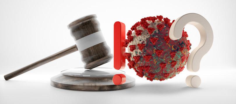 question mark exclamation mark judge gavel Coronavirus Covid-19 symbolic 3d-illustration
