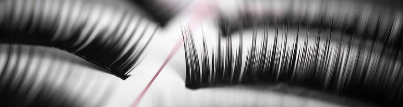 Set of false eyelashes in a box: close-up, extra macro, background, beauty salon concept