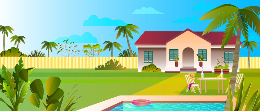 Summer banner with luxury villa, pool, plants, palms, lawn, clouds, fence, outdoor furniture. Beautiful cottage backyard in flat style. Tropical landscape for rental advertisements, booking web sites.