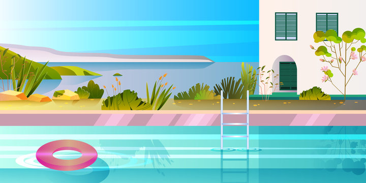 Summer banner with ocean, pool, rubber tube, plants, ladder, trees, house. Exotic landscape with luxury villa and backyard. Tropical vacation concept in flat style for advertisements, web pages