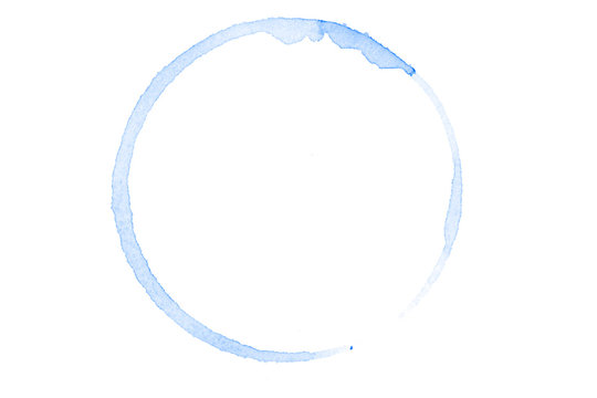 blue watercolor circle isolated on white