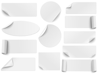 Fototapeta Set of vector white paper stickers of different shapes with curled corners isolated on white background. Round, oval, square, rectangular shapes. obraz