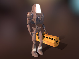 Robot carrying a case with radioactive material