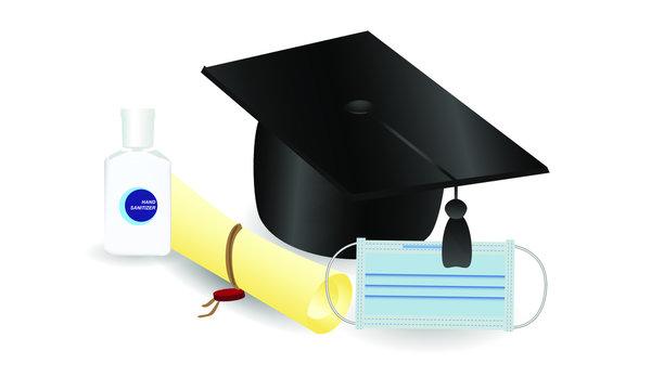 Virus protection theme, hand sanitizer and medical mask, realistic vector illustration, graduation and quarantine, graduate cap and diploma